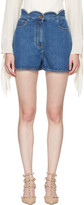 Valentino Blue Denim Scallop Waist Shorts