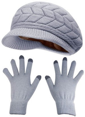 HINDAWI Winter Hats Gloves for Women Knit Warm Snow Ski Outdoor Caps Touch Screen Mittens - Grey -