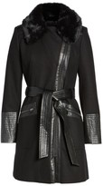 Via Spiga Women's Faux Leather & Faux Fur Trim Belted Wool Blend Coat