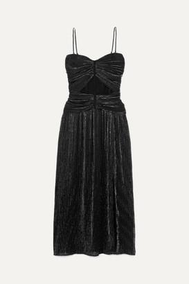 Jonathan Simkhai Ruched Plisse-lurex Midi Dress - Black