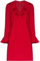 Valentino ruffle neck shift dress