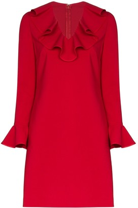 Valentino Ruffle Neck Shift Dress