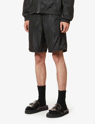 Givenchy Brand-tape drawstring-waistband shell shorts