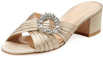 Gianvito Rossi Satin Embellished Slide Sandal