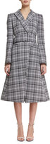 Off-White Plaid A-Line Wrap Coat