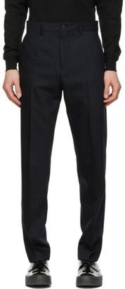 Acne Studios Navy Wool Pinstripe Trousers