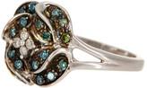 Savvy Cie Blue & White Diamond Rose Ring - 0.25 ctw