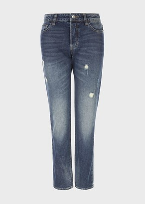 Emporio Armani J60 Regular-Fit, Vintage-Look, Ripped Denim Jeans