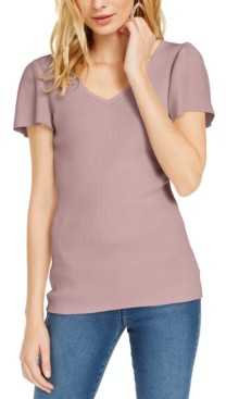 INC International Concepts Inc V-Neck Flutter-Sleeve Sweater, Created for Macy's