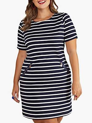 Yumi Curves Nautical Stripe Pocket Tunic Dress, Navy