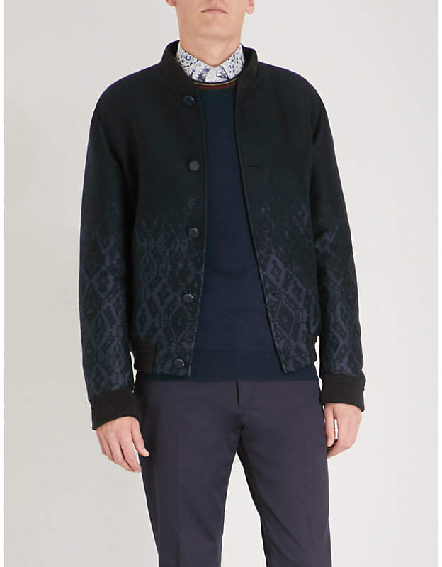 Etro Embroidered wool-blend bomber jacket