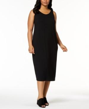 Eileen Fisher System Plus Size Sleeveless Stretch Jersey Midi Dress