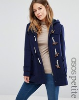 Asos Wool Blend Duffle Coat with Checked Liner