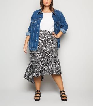 New Look Blue Vanilla Curves Animal Print Midi Skirt