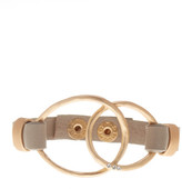 Saachi Taupe Intertwined Genuine Leather Bracelet