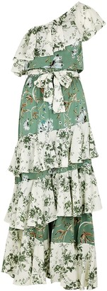 MISA Faena Floral-print Ruffle-trimmed Maxi Dress