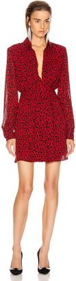 Saint Laurent Long Sleeve Leopard Mini Dress in Red & Black | FWRD