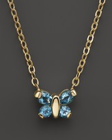 """Bloomingdale's Blue Topaz Butterfly Pendant Necklace in 14K Yellow Gold, 16"""""""
