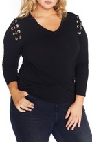 Plus Size Women's Rebel Wilson X Angels Lace-Up Shoulder Fitted Tee