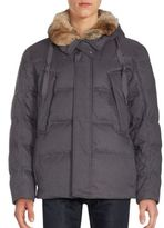 Andrew Marc Darien Rabbit Fur-Trimmed Down Coat