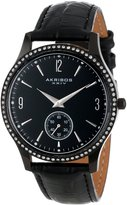 Akribos XXIV Men's AK606BK Essential Crystal Quartz Leather Strap Watch