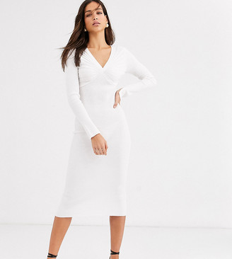 Asos DESIGN Tall pleat detail knit midi dress with deep v-Cream