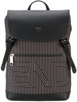 Fendi logo backpack - men - Cotton/Leather/Nylon - One Size