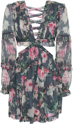 Zimmermann Lace-up Cutout Floral-print Silk-georgette Mini Dress