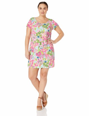 MSK Women's Petite Short Sleeves Printed tee-Shirt Dress