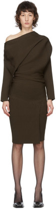 Proenza Schouler Brown One-Shoulder Rib Dress
