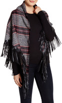 David & Young Faux Leather Fringe Scarf
