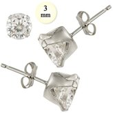Noureda 14K White Gold Stud Earring Aprx .24 Carat Total Weight, 3mm Each Round Simulated Diamond Earring. Set on High Quality Stamping Setting & Friction Style Post