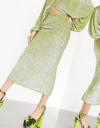 ASOS EDITION midi skirt with thigh split in sequin drench