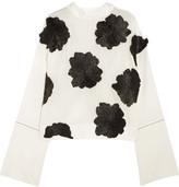 Marni Raffia appliquéd cotton and silk-blend top