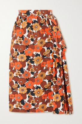 Dodo Bar Or Nora Ruffled Floral-print Cotton Midi Skirt - Brown