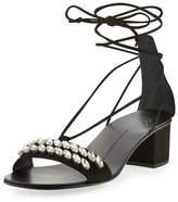 Giuseppe Zanotti Crystal-Embellished Suede Block-Heel Sandal, Black