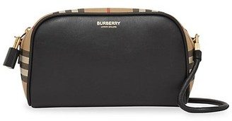 Burberry Small Cube Vintage Check Leather Camera Bag