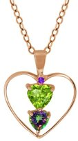 Gem Stone King 0.89 Ct Heart Shape Green Peridot Green Mystic Topaz Gold Plated Silver Pendant With 18 Inch Chain