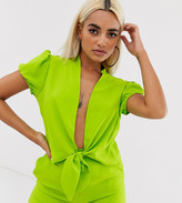 John Zack petite wrap crop top co ord in neon green