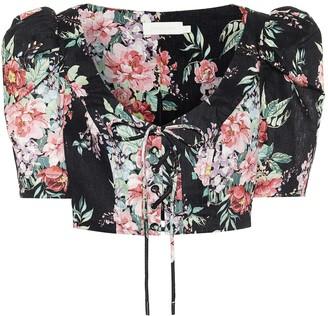 Zimmermann Bellitude floral linen crop top