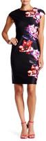 Julia Jordan Cap Sleeve Floral Scuba Sheath Dress