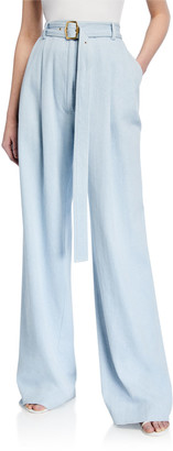 Sies Marjan Light Wash Denim Wide-Leg Pants w/Belt