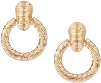 Kenneth Jay Lane Textured Door-Knocker Clip Earrings
