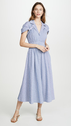 Baon Shirred Waist Tea Dress