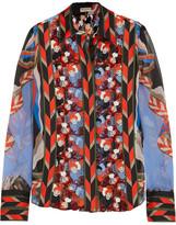Emilio Pucci Printed Silk-chiffon And Macramé Lace Blouse - Red