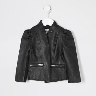 River Island Mini girls Black faux leather jacket