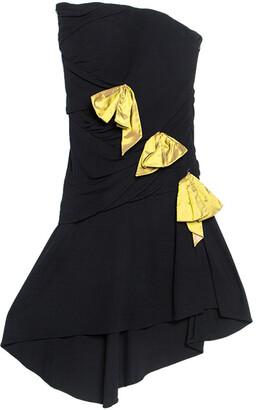 Christian Lacroix Black Crepe Bow Applique Ruched Strapless Dress M
