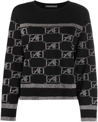 Alberta Ferretti Long Sleeve Metallic-Knit Jumper