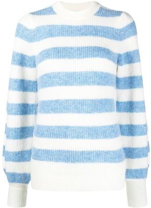 Ganni Stripe-Pattern Puff-Sleeve Jumper