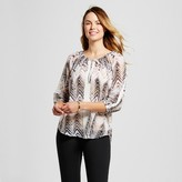 U-knit Women's Elbowsleeve Chevron Printed Peasant Blouse